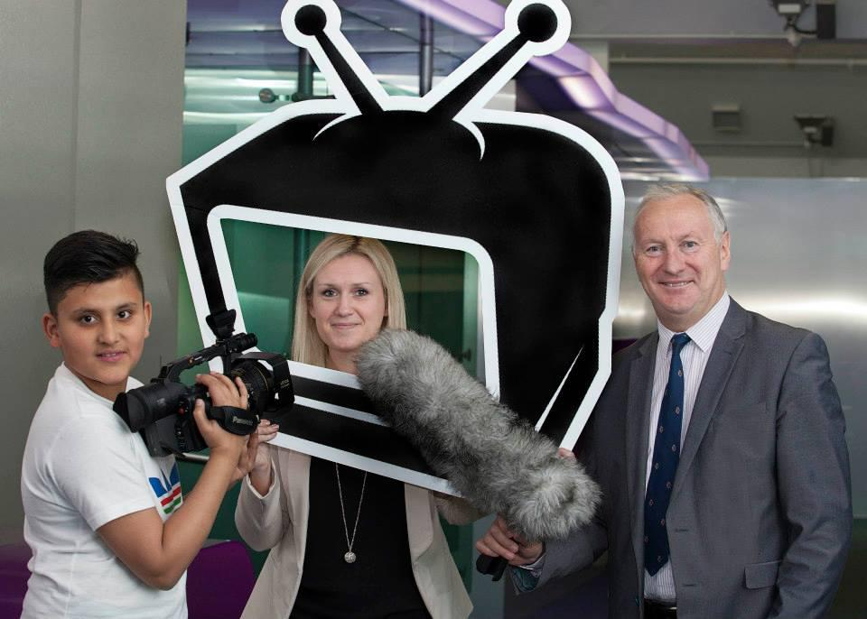 Moazam Ali - one of the participants on the Future Creators programme - is photographed with Jill O'Brien, TV3 Group Director of Digital, Gerry Macken CEO of the Digital Hub Development Agency at the announcement of the partnership between the Future Creators programme and TV3.