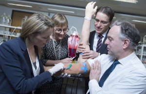 Ruth Patel and Simon Smith of Respiro Research and Development check out a venipuncture sleeve with Julie Sinnamon, CEO, Enterprise Ireland and David Merriman, Head of Enterprise Development, Bank of Ireland