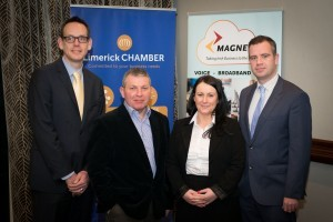 Philip Clapperton, guest speaker, Denis Duffy, Michelle Harding, Magnet Networks and Dr James Ring, CEO, Limerick Chamber pictured at the Chamber breakfast event