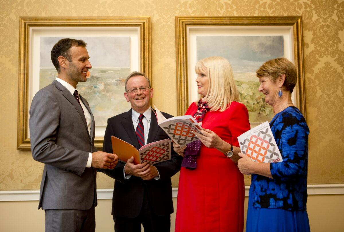 Business 31082016. No repro Fee. Pictured at the launch of 'The Economic Impact of Venture Capital in Ireland 2013-15' report which took place in the Shelbourne Hotel Dublin was from left Dr Eric Clinton, DCU Business School, Michael Murphy, Chairman, Irish Venture Capital Association, Mary Mitchell O'Connor TD, Minister of Jobs, Enterprise & Innovation and Regina Breheny, Director General, IVCA. Photo Chris Bellew / Copyright Fennell Photography 2016