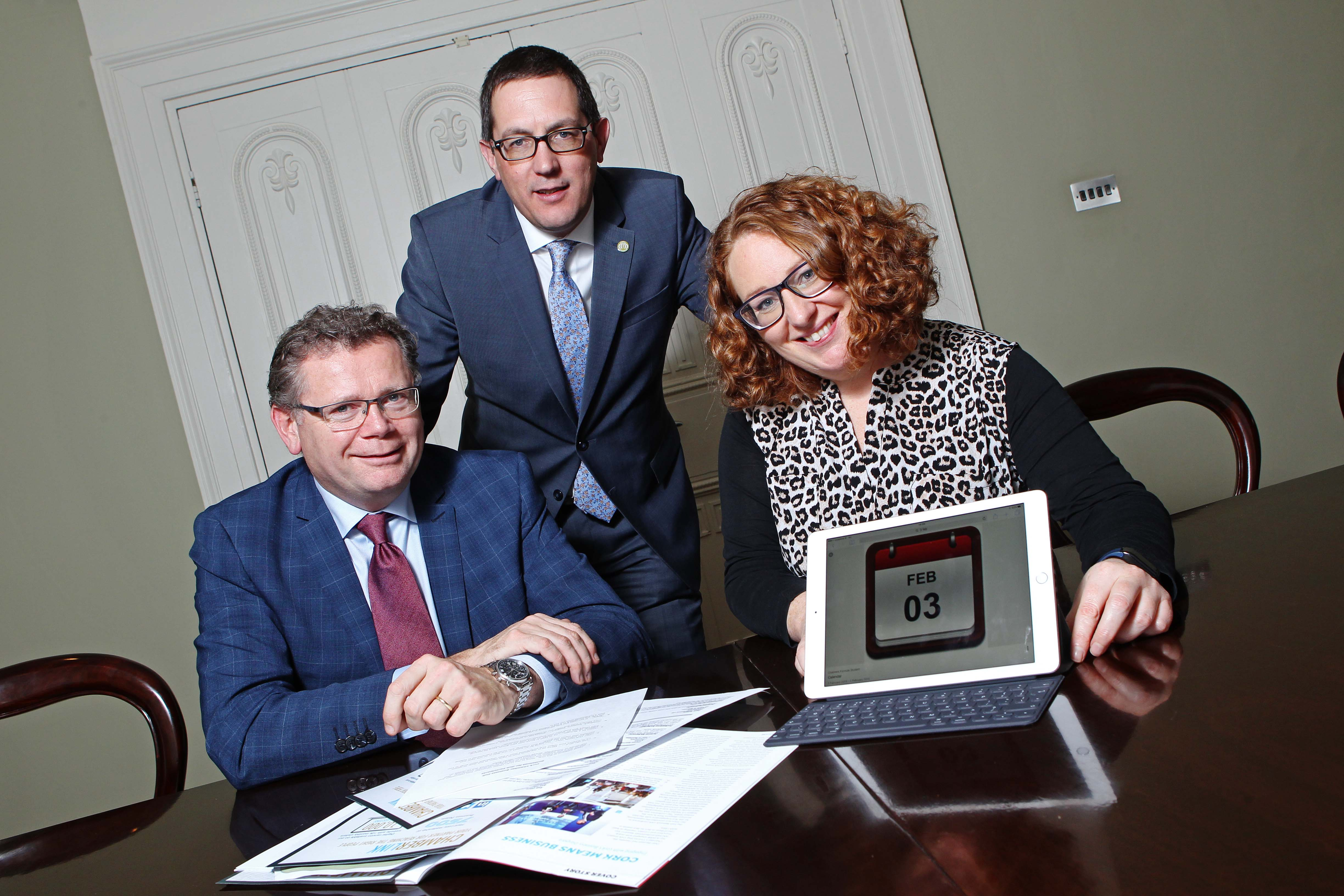DC 13/12/2016 - REPRO FEE FREE PIC Pictured at the announcement that the Montenotte Hotel will be the lead sponsor at the Cork Chamber Annual Dinner are Conor Healy and Leigh Gillen, Cork Chamber with Frankie Whelehan, The Montenotte Hotel. As the region's leading and largest corporate dinner, the Annual Dinner 2017 taking place on 3rd Feb 2017, promises to be another sell out event. Tickets go on sale at 9:30am on Wednesday, 14 December at www.corkchamber.ie Pic: Diane Cusack